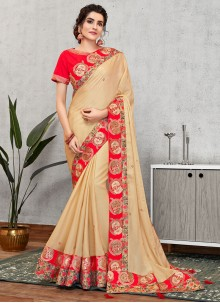 Embroidered Cream Faux Georgette Traditional Designer Saree