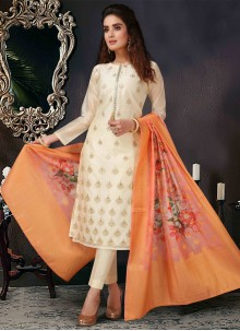 Embroidered Off White Pant Style Suit