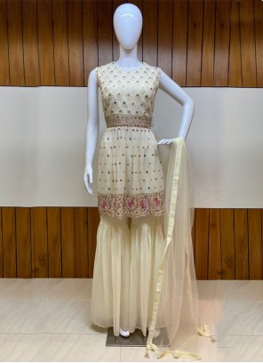 Embroidered Cream Salwar Kameez