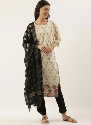 Embroidered Cream Silk Designer Salwar Kameez
