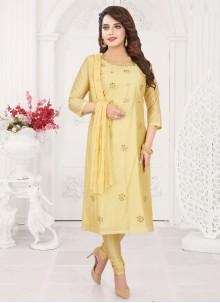 Embroidered Cream Silk Trendy Churidar Suit