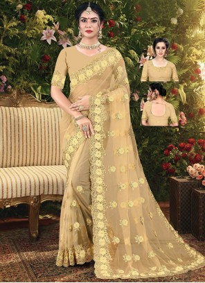 Embroidered Cream Net Trendy Saree