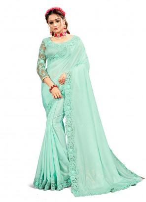 Embroidered Crepe Silk Blue Designer Saree