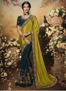 Embroidered Crepe Silk Half N Half Designer Saree in Green and Navy Blue