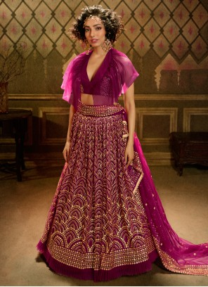 Pink Embroidered Designer A Line Lehenga Choli