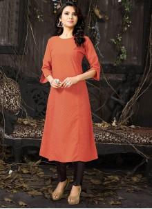 Red Embroidered Cotton Designer Kurti