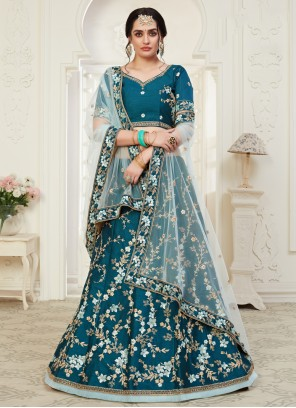 Embroidered Designer Blue Lehenga Choli