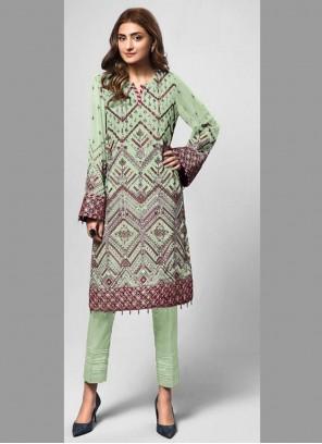 Green Embroidered Designer Pakistani Salwar Suit