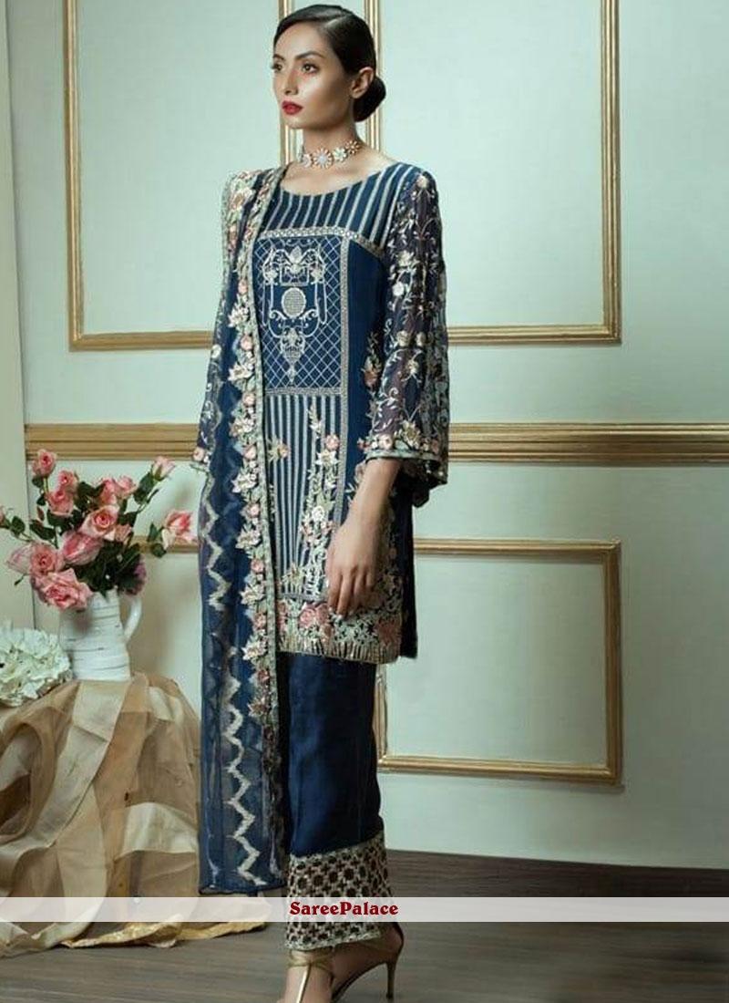 Blue Embroidered Designer Pakistani Suit