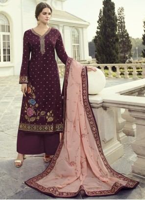 Embroidered Purple Designer Pakistani Suit