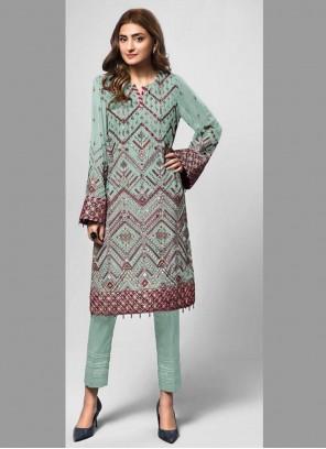 Sea Green Embroidered Designer Pakistani Suit