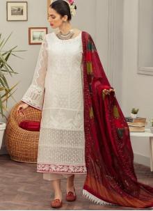 Off White Embroidered Designer Pakistani Suit