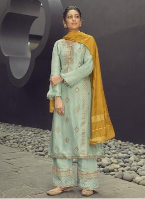 Embroidered Designer Palazzo Blue Salwar Kameez