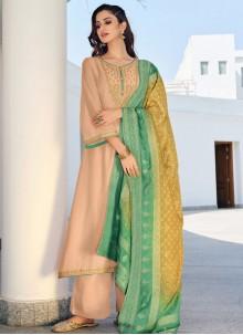Beige Embroidered Silk Designer Palazzo Salwar Suit