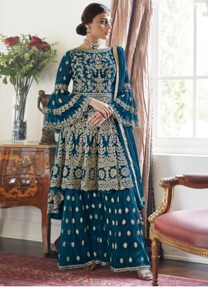 Rama Embroidered Designer Palazzo Salwar Suit