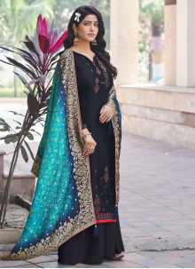 Embroidered Designer Black Palazzo Suit