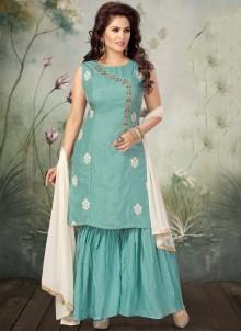 Embroidered Aqua Blue Designer Salwar Suit