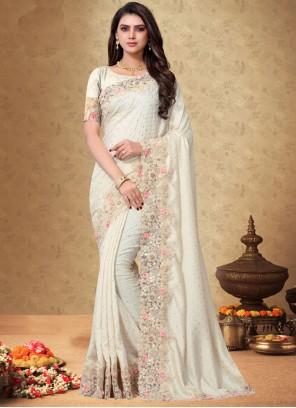 White Embroidered Designer Saree