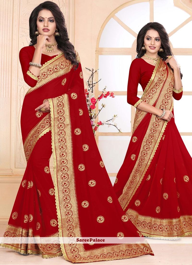 Red Embroidered Designer Saree
