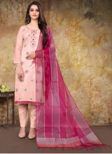 Pink Embroidered Banarasi Jacquard Designer Straight Suit