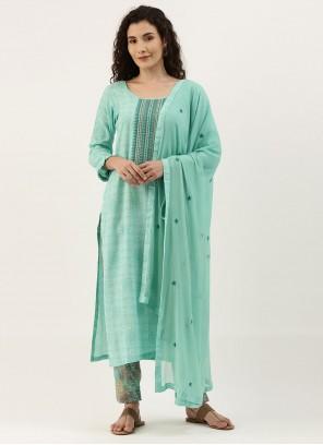 Aqua Blue Embroidered Designer Straight Suit