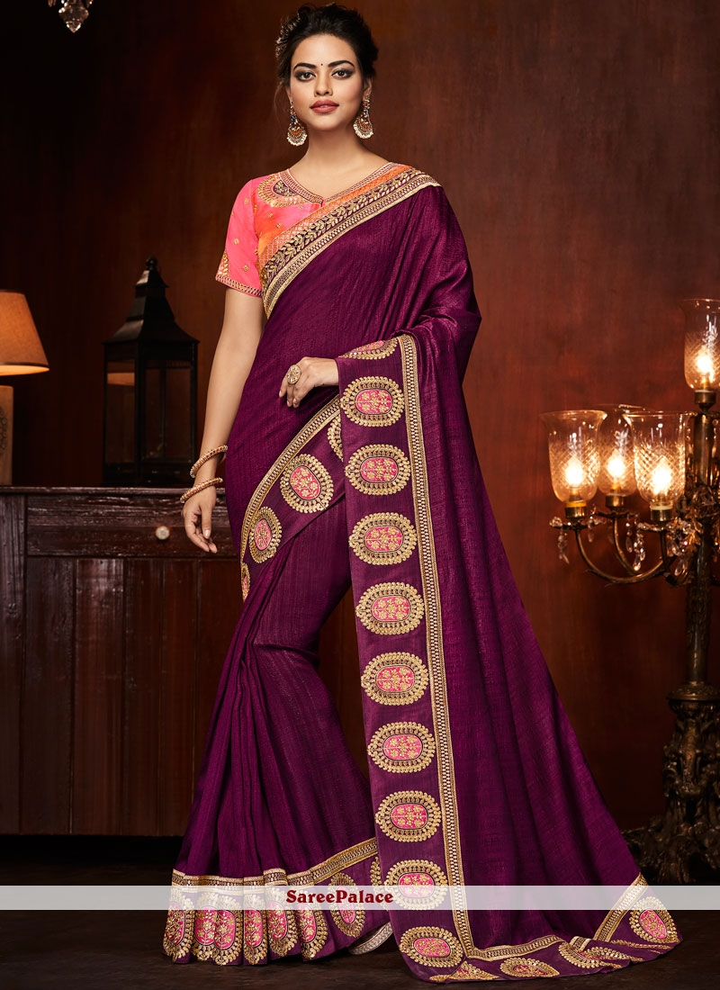 Purple Embroidered Designer Traditional Saree