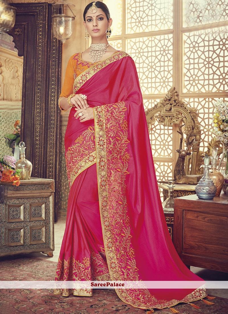 Rani Pink Embroidered Designer Traditional Saree