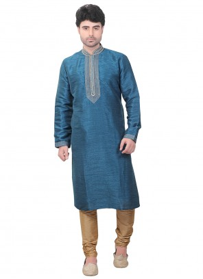 Embroidered Dupion Silk Kurta Pyjama in Blue