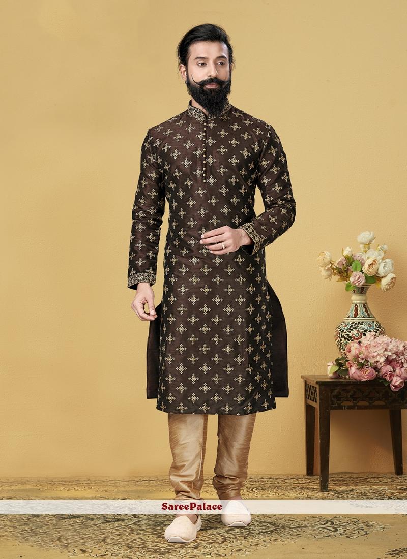 Embroidered Dupion Silk Kurta Pyjama in Brown