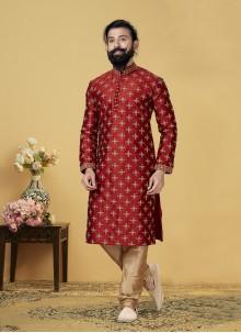 Embroidered Dupion Silk Kurta Pyjama in Red