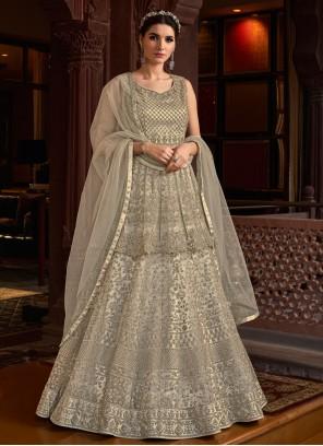 Embroidered Engagement Designer Grey Salwar Suit