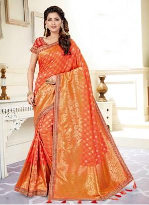 Embroidered Engagement Orange Designer Traditional Saree