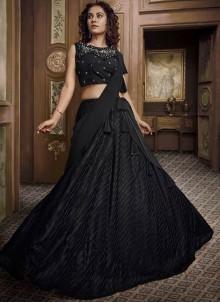 Embroidered Fancy Fabric Black Designer Lehenga Choli