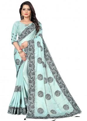 Embroidered Fancy Fabric Blue Designer Saree