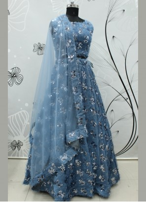 Embroidered Fancy Fabric Blue Lehenga Choli