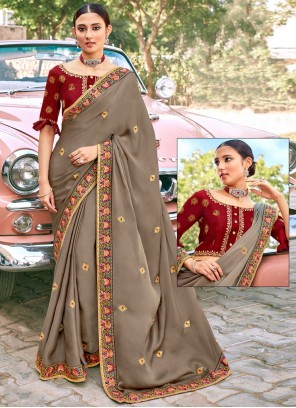 Embroidered Fancy Fabric Classic Designer Saree in Brown