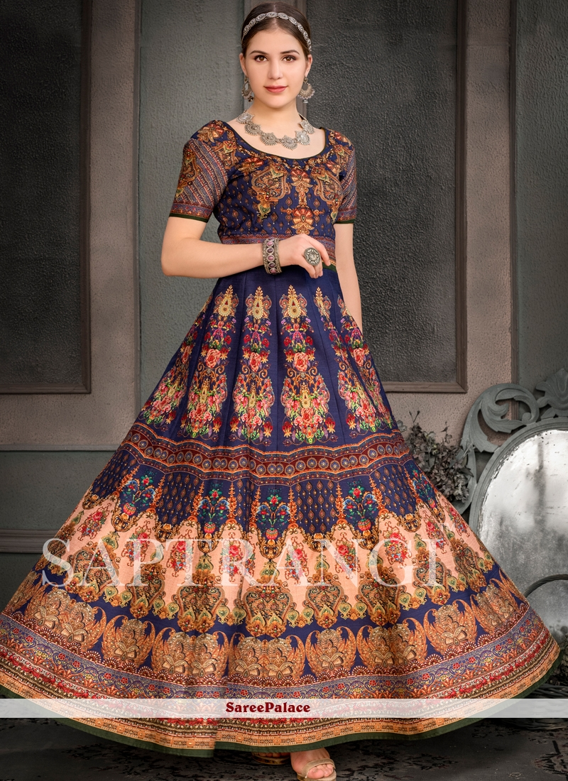 Embroidered Fancy Fabric Designer Gown in Multi Colour