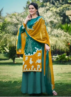 Embroidered Fancy Fabric Green Designer Palazzo Suit