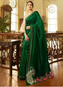 Embroidered Fancy Fabric Green Trendy Saree