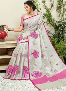 Embroidered Fancy Fabric Grey and Hot Pink Traditional Saree
