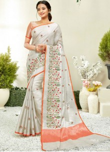 Embroidered Fancy Fabric Grey and Peach Traditional Saree