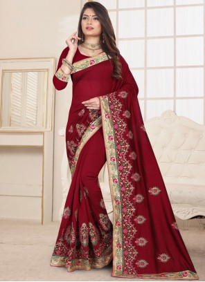 Embroidered Fancy Fabric Maroon Classic Designer Saree