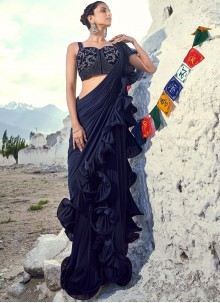 Embroidered Fancy Fabric Navy Blue Traditional Saree