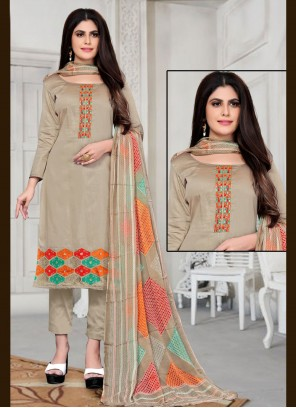 Embroidered Fancy Fabric Pant Style Suit in Beige