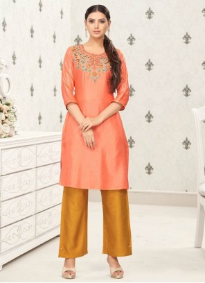 Pink Embroidered Fancy Fabric Party Wear Kurti