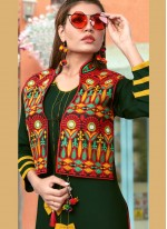 Embroidered Fancy Fabric Party Wear Kurti in Green