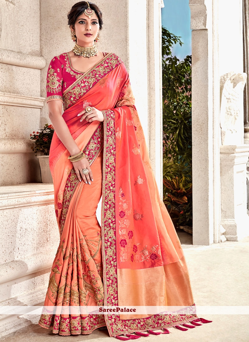 c87fcdeee2 Buy Orange Embroidered Fancy Fabric Shaded Saree Online