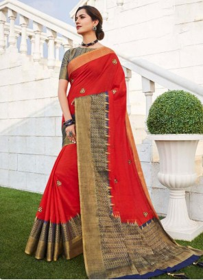 Embroidered Fancy Fabric Traditional Designer Saree