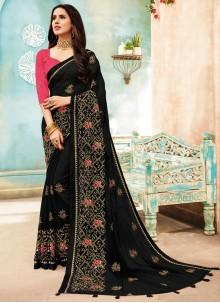 Embroidered Faux Chiffon Black Classic Designer Saree
