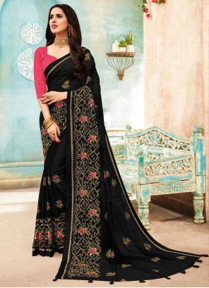 Embroidered Faux Chiffon Black Classic Designer Saree